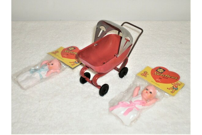 Vintage Small Stamped Steel Doll Carriage W/ Two (2) NIP Dolls -