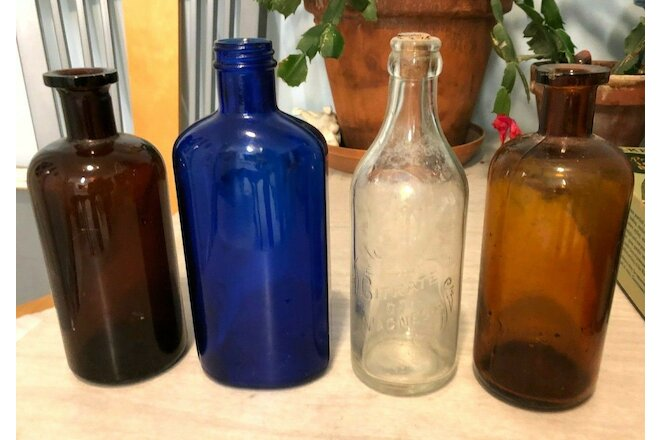 Vintage Brown Amber Blue Clear Apothecary Pharmacy Bottles Lot of 4