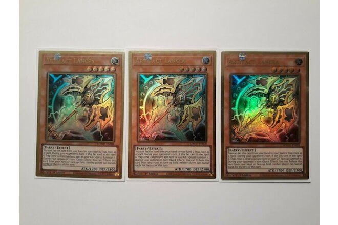 Yugioh | 3x | Artifact Lancea | MAGO | 1st Edition | Premium Gold Rare | NM