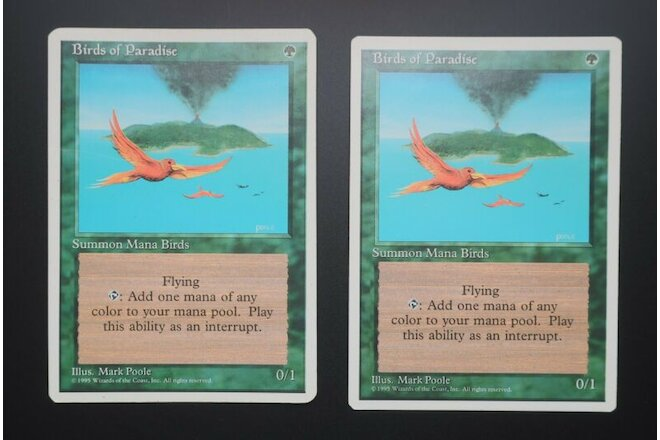 2 x Birds of Paradise, 4th edition, MTG, Magic the Gathering, NM, Never Played