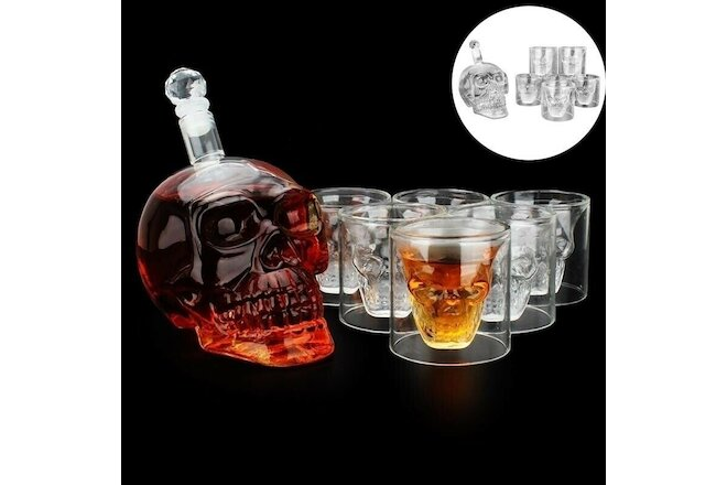 550ml Glass Skull Face Decanter with 6 Pcs Skull Shot Glasses for Whiskey