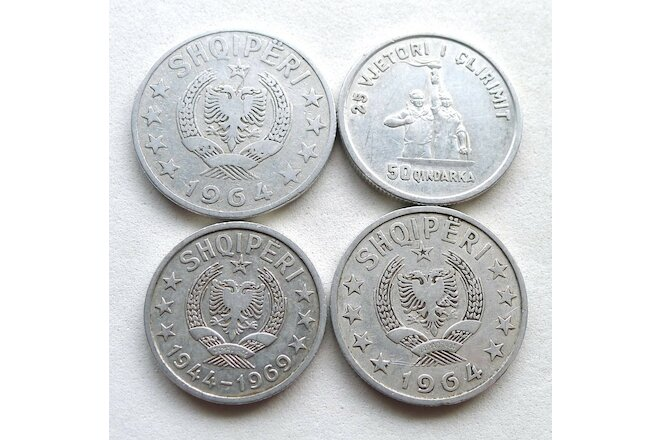ALBANIA LOT X 4: DATES 1964-1969 INC 25TH ANN LIBERATION 20 50 QINDARKA + 1 LEK.