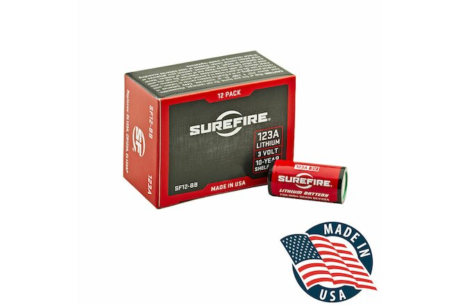 SureFire 123A CR123A 3 Volt Lithium Batteries - 12 Pack - EXP in 06/2030!