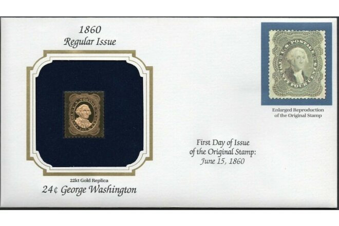 1860 Regular Issue U.S Golden Replicas of Classic Stamps. Set of 3