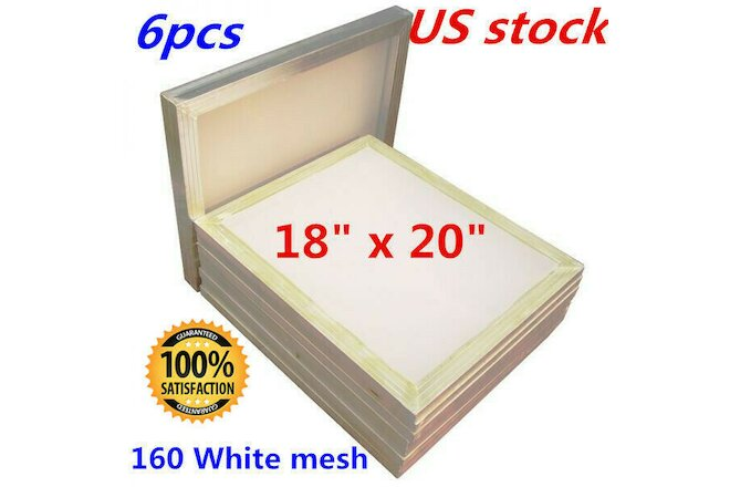 "6 PACK -18"" x 20""Aluminum Screen Printing Screens With 160 White Mesh Count - US"
