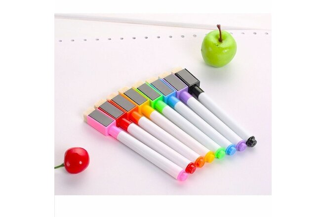 8pcs Magnetically Erasable White Board Pen Comes Rubber Black Home Teaching Pens