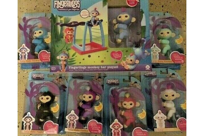 New 7 Fingerlings Monkeys Interactive plus + Monkey Bar WowWee authentic