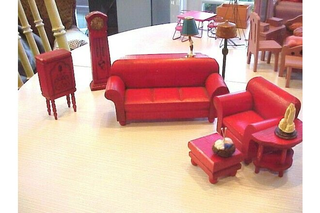 Doll House    Strombecker Seven Piece Red antique living room set
