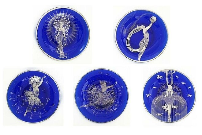 * 5 * HOUSE of ERTE Cobalt Blue Collector Plates - Franklin Mint * COA's * HTF