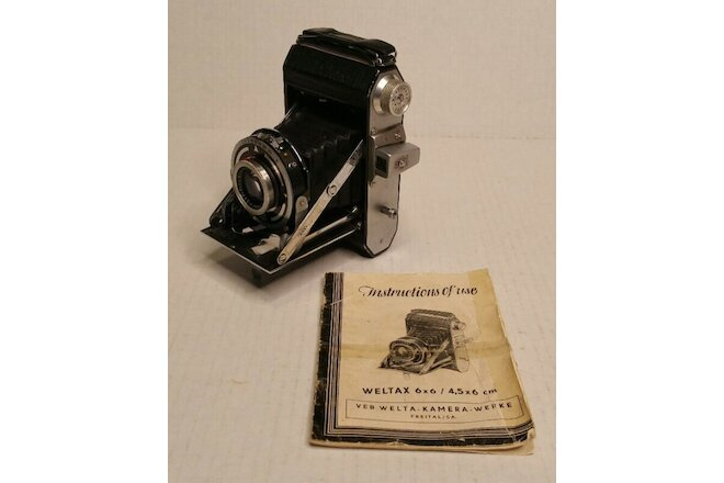 Rare Vintage Weltax Welta 6x6 Folding Camera & Manual Germany