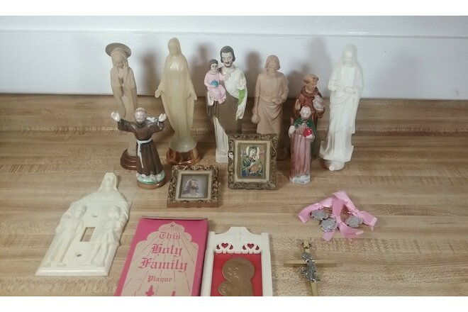 Vintage Catholic Altar Items of Jesus Virgin Mary Lot of 16