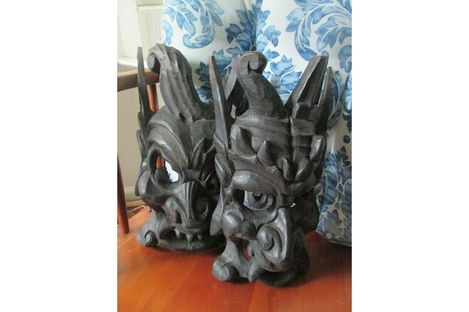Set of 2 Vintage Asian Chinese Hand Carved Wood Brown Wooden Mask c.1980's