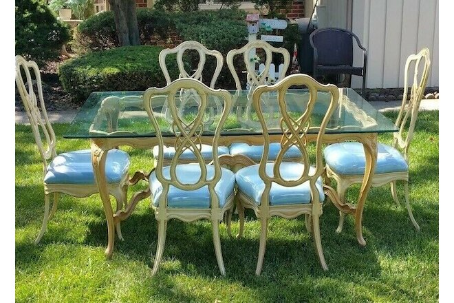 French Rocaille Hollywood Regency Louis XV Glass Top Dining Table Covered Chair