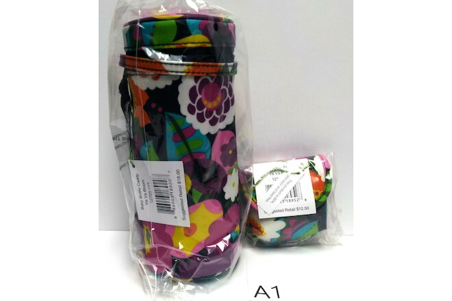 2pc Set Vera Bradley VA VA BLOOM Baby Bottle Caddy Pacifier Pod New with tags A1