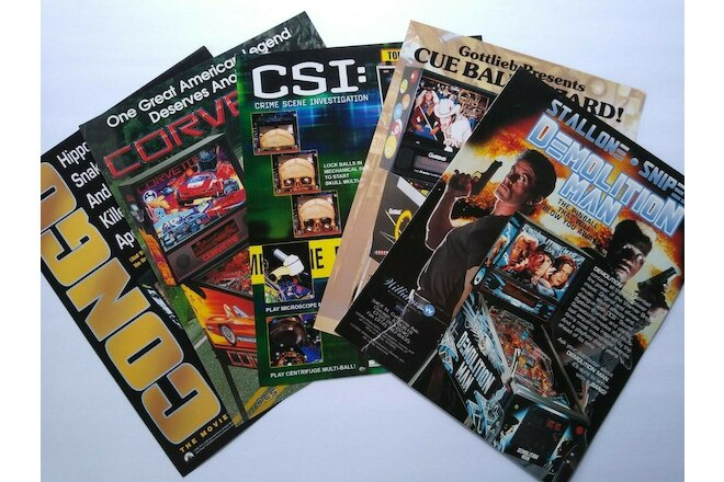 Pinball FLYERS Cue Ball Wizard Congo Corvette Demolition Man CSI