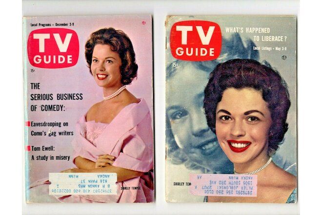 TV GUIDE: 2 SHIRLEY TEMPLE ISSUES -  1958 & 1960  (MINN., EDITIONS)