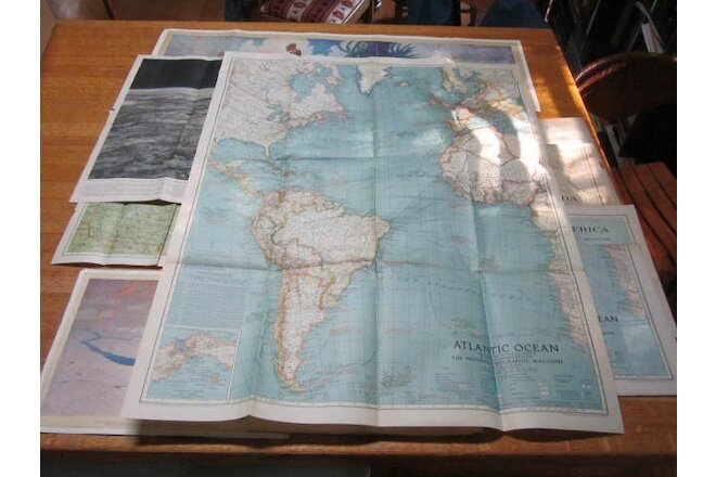 NATIONAL GEOGRAPHIC LOT OF 15 MAPS THE 1920'S & 1930'S REACHES NEW YORK CITY