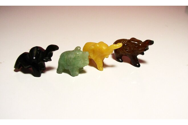 Vintage Extra Miniature Onyx Stone Elephants Different Colors Nicely Sculpted