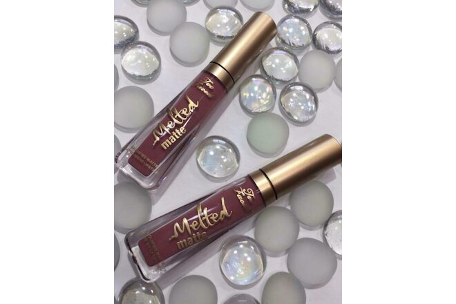 2x TOO FACED Melted Matte Liquified Lipstick QUEEN B (soft mauve) .1oz/3mL Each