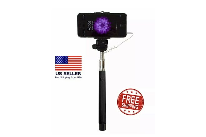 10 Adjustable Black Selfie Sticks/ Snap Button / Compatible with most Smartphone
