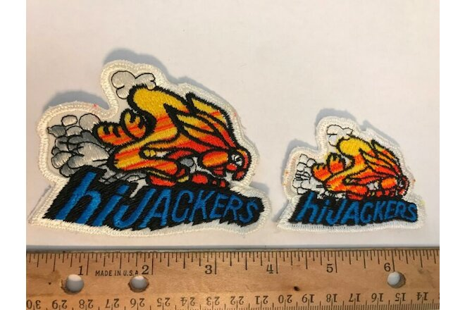 Vtg Hijackers Gabriel Shock Absorber hot rod drag racing jacket hat cap patch x2