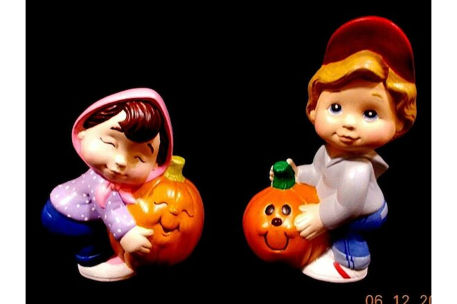 Fall Sweet Tot Kids Figurines Hand Painted Ceramic Home Decor