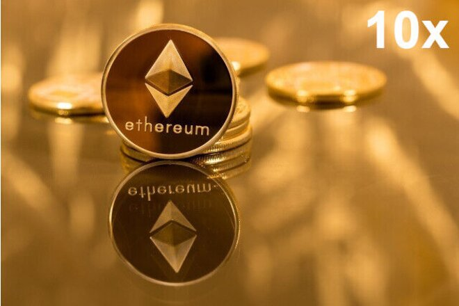 10Pc Gold Plated Physical Commemorative Coin Collectible ETH Ethereum Miner Coin