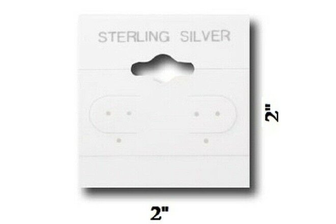 "100pc Sterling Silver Earring Cards White Earring Jewelry Hanging Cards 2"" x 2"""