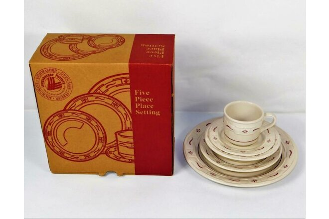 NEW 5 PIECE PLACE SETTING MINT LONGABERGER WOVEN TRADITIONS TRADITIONAL RED
