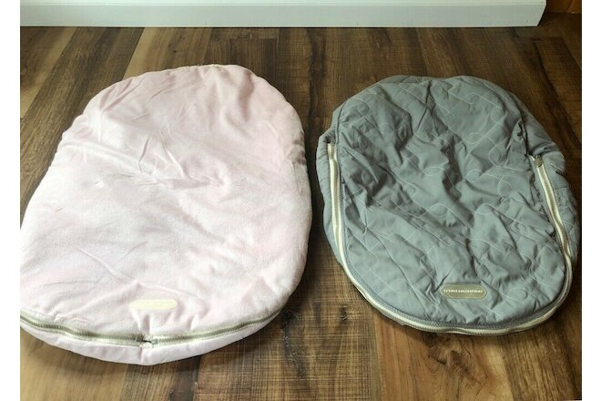 JJ Cole Original Bundle Me in Pink & Car Seat Cover in Grey (up to 21lbs/12M)