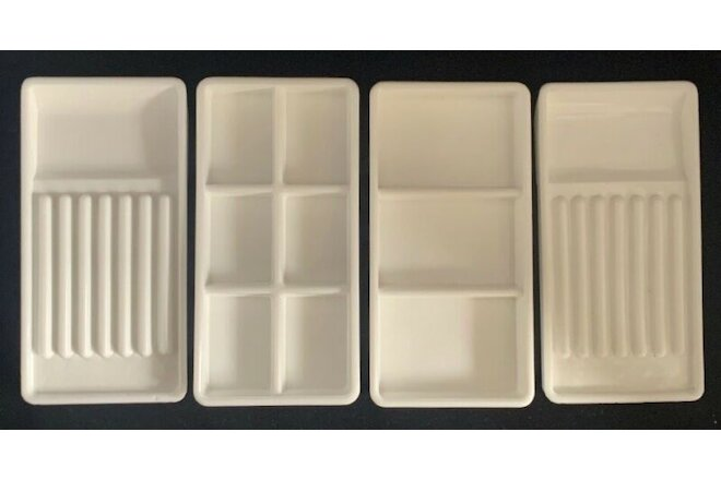 Lot 4 Vintage Dental Milk Glass Dentist Tool Trays USA VALTRONIC DT5
