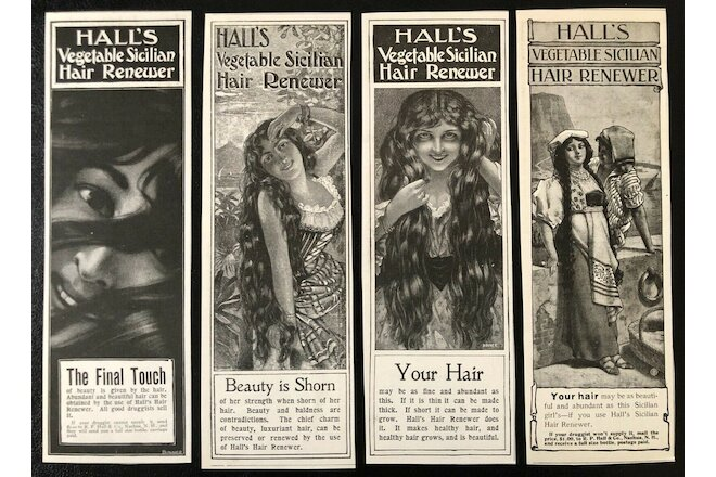 1898 HALL'S VEGETABLE SICILIAN HAIR RENEWER Vtg Binner Art Agency Print Ad Lot 4