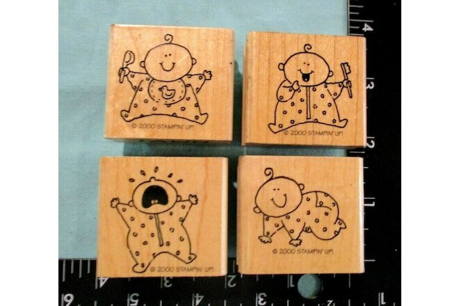 Set 4 2000 Stampin' Up Baby w/ Tooth Bush, Crying, Crawlin, Eating Rubber Stamps