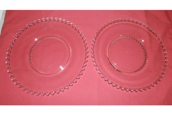 2 Candlewick crystal dinner plates 10 3/8 inches