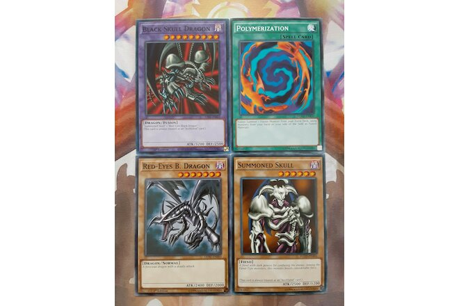 Yugioh Set B. Skull Dragon Summoned Skull Red Eyes Black Dragon Polymerization