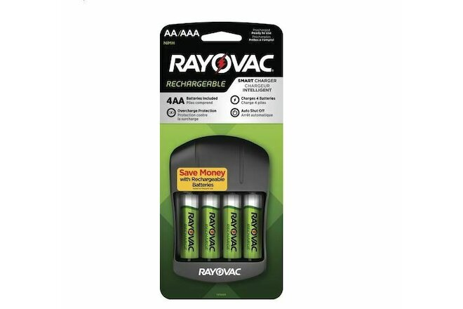 *BEST PRICE RAYOVAC Smart Charger with 4 AA Rechargeable Batteries NiMH =1650mAH