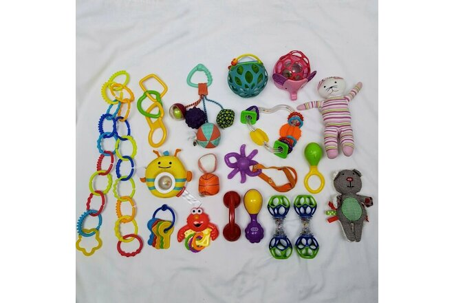 Baby Toys Lot of 19 Infant Bundle Keys Stuffed Animals Rings Balls Phone Teether