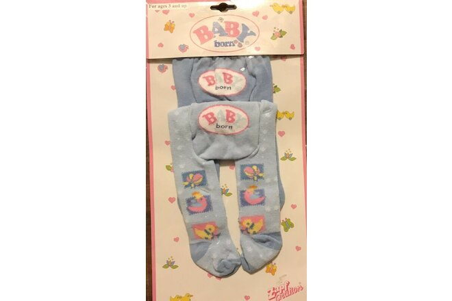 RARE Zapf Creation Baby Born Blue Tights Stockings Clothes Set 2 New In Package