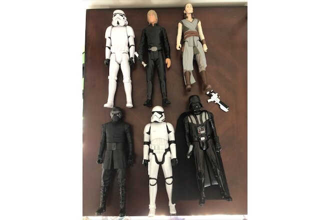 "Lot of 6 STAR WARS 12"" Inch Action Figures Hasbro Darth Vader Storm Troopers"