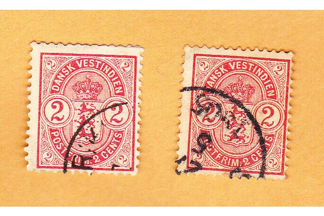 DANISH WEST INDIES LOT OF 2 SCOTT #29 USED 2 CENTS 1903