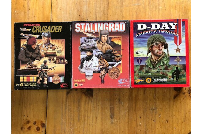 3 Vintage Avalon Hill  PC Games: Operation Crusader, Stalingrad & D-Day