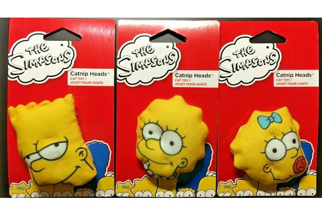 THE SIMPSONS CATNIP HEADS CAT TOYS - ( SET OF 3 )  BART, LISA and MAGGIE  $12.99