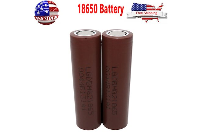 2 Pack 3000mAh 3.7V Battery High Drain Flat Top Rechargeable Li-ion Batteries