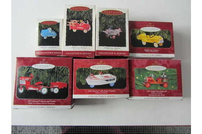 HALLMARK KEEPSAKE ORNAMENTS KIDDIE CAR CLASSICS #1 THRU #7 IN SERIES NEW/ MINT!!