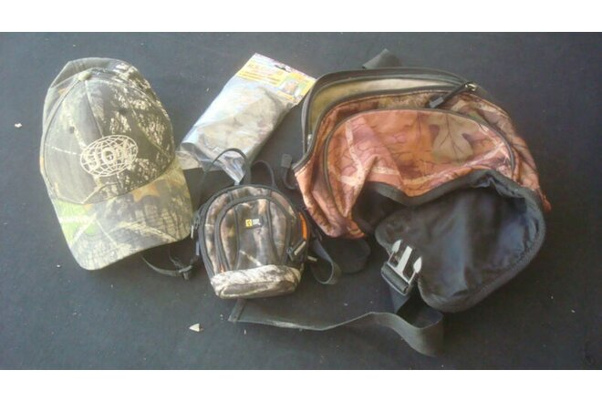 HUNTING ACCESSORIES Lot 4 Camo Fanny Pack Camera Case Cap & New Head Net