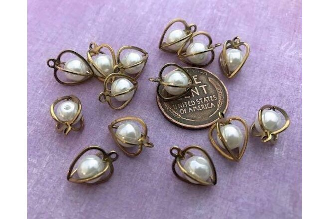 Vintage 10 x 13mm Brass Caged Pearl Bead Heart Charms Japan 14