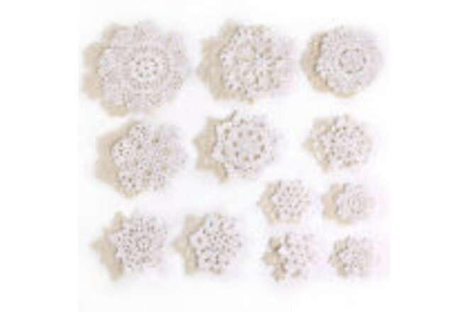 Round Cup Coasters Vintage Cotton Handmade Crochet Floral Lace Doily Tea Party