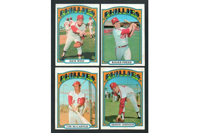 1972 Topps Phillies Lot of 10 + Carlton - Bowa Wise McCarver Johnson  - VG/EX