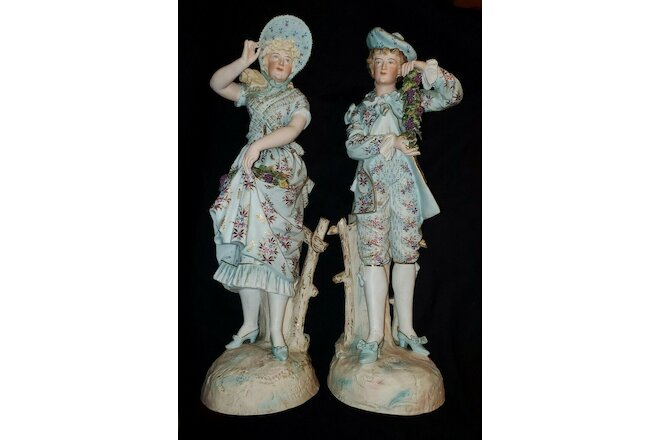 "19th Century French Bisque Porcelain Figurines LARGE Pair 20"" Tall"
