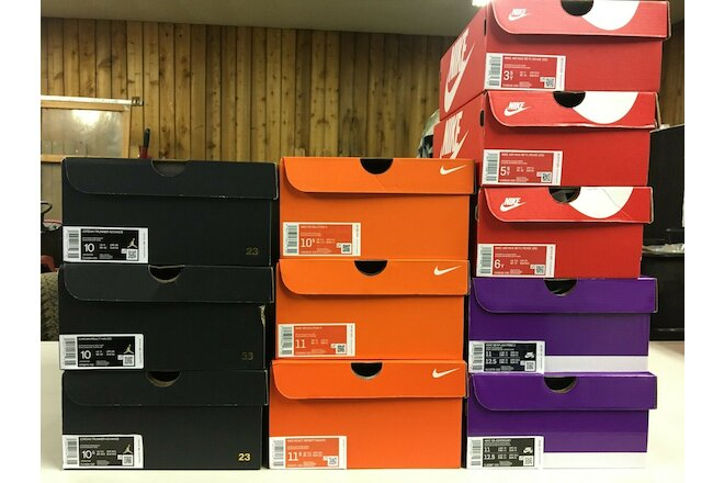 Nike Empty Shoe Boxes lot of (11) AJ Black & gold 3 Orange 3 Red 3 new Purple 2